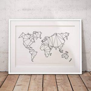 Abstract világtérkép vászon