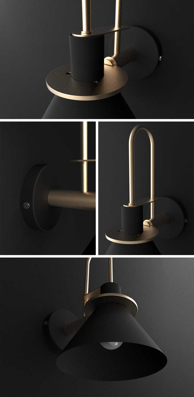 modern minimalist fali lámpa black design opt