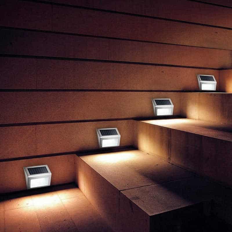 Steel kültéri napelemes LED lámpa lépcső 4